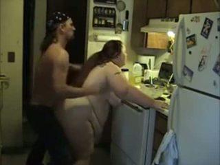 Amateur BBW in the kitchen