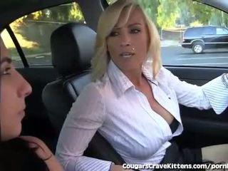 brunete, jauns, pussy licking