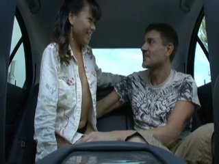 Backseat action with an asian teen
