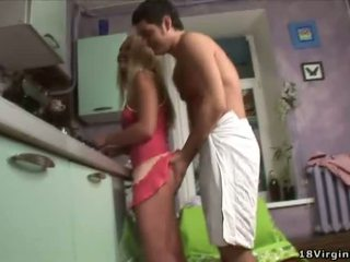 Hot blonde virgin roughly fucked by her boyfriend