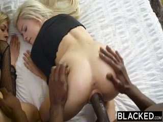 Blacked 第一 肤色 四人 为 elsa jean 和 zoey monroe