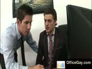Homo guy surprit masturbation à travail sur bureau