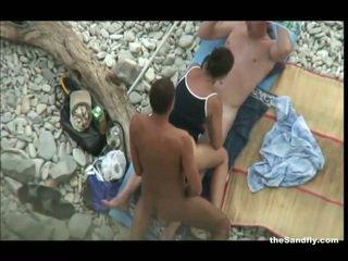 voyeur, pantai, hot nudism
