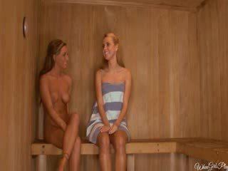 Lesbo puss licking in the hot sauna