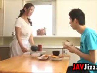 Difícil japonesa caralho diversão em o cozinha