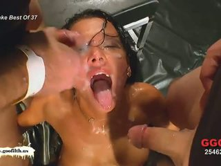 brunette, young, cum in mouth