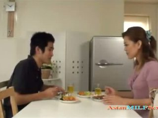 Milf Getting Her Nipples Sucked Giving Blowjob For Young Guy Cum To Mouth In The Kitchen