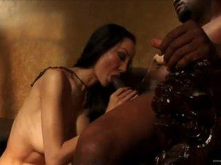 Ange Venus let bald black guy lick her cunt