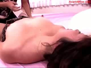 Milf Fingered By chick Guy Sucking dong On The Bed