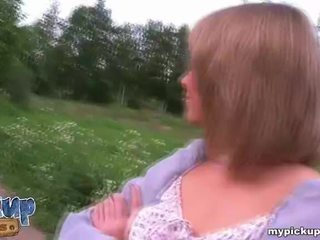 Sexy russian girl picked up by two guys and gets fucked Video