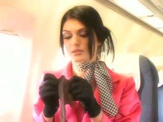 Красавици стюардеса смучене а трудно пенис