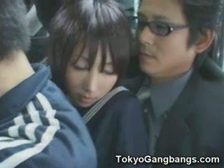 Naive escolar en tokyo autobús!