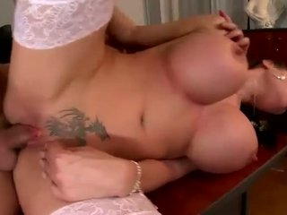 Hard fucked bigtits mom with one tatto on her cunt