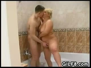Fun With A Blonde Grandma In The Bathroom