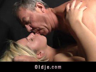 Angry Blonde Teen Fucks Oldman To Calm Down
