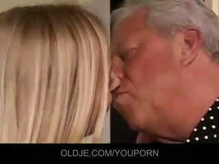 Old and young threesome fuck