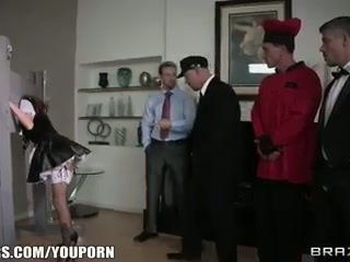Submissive house maid Gia Dimarco is gang banged on the job