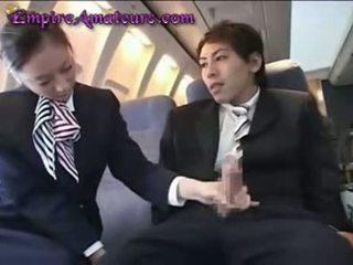 Japans stewardess assists man