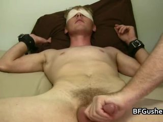 Blindfolded Cory Acquires His Jizzster