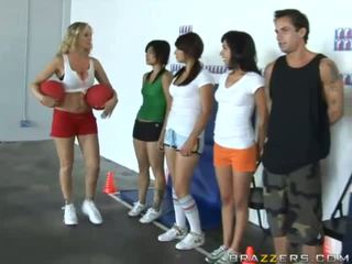 Stunning busty blonde sport teacher in action