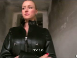 Busty blonde flashes and gives public bj