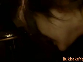 Dirty bukkake asian slut gets soaked