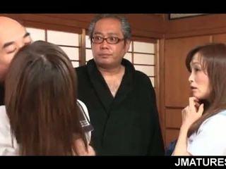 japanse, groepsseks, oma
