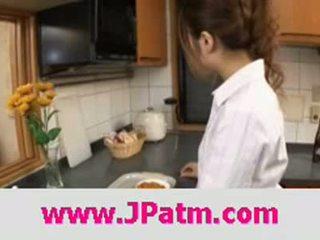Hibik ohtsuki japanese wife fucks in the kitchen clip 1