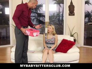 Mybabysittersclub - bleek skinned baysitter bestraft door homeowner