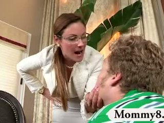 MILF stepmom catches teens fuck on her couch