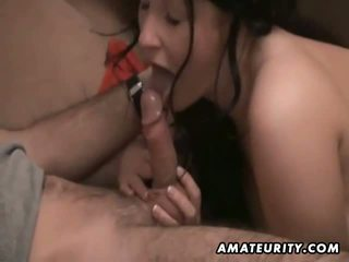 Busty amateur ExGf blowjob with cum in mouth