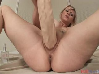 Blonde Babe Enlarges Her Love Tunnel With Mega Biggest Rubber Cocks