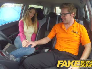 Fake Driving School Big Tits Italian Student Fucks for