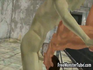 3d brunette babe zuigen op een hard zombie lul