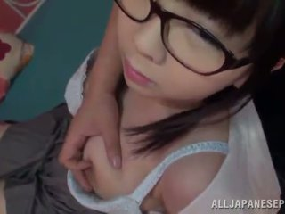 Aimi Irie The Chinese Teenager In Glasses Gives A Titjob