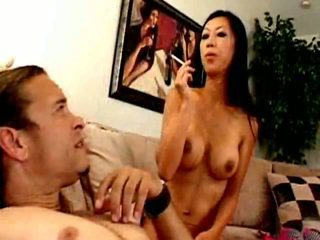 Bewitching Oriental Minx Dia Zerva Smoking Close To Crave And Caping A Massive Phallus
