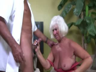 Mature granny sucking on dong for this very lucky guy