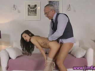Teen in stockings is fucked hard by an old man