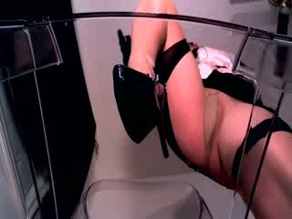 POV erotic hypnotist in shiny pantyhose and stockings sitting over her paralyzed slave