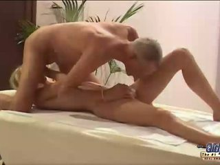 Hot blonde vixen nailed by old fart
