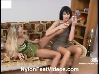 fotfetisch, lagerhålla kön, sexy nylon legs and feet