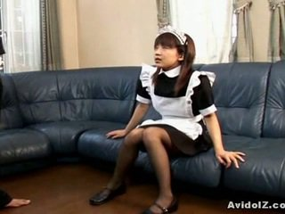 Asian Teen Maid Sucking Onto Cock Of Her Master