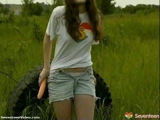 Pack של פורנו: ורוד nipple נוער fucks שלה צעצוע