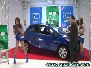 Invisible guy fucks japanese babe at car show