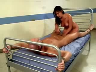 Nurse Penny Flame bouncing her pussy on bald patients dick