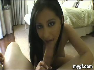 Teen prepares cock for her pussy