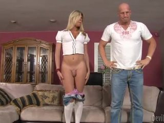 Blonde TS Angelina Torres blowjob n anal