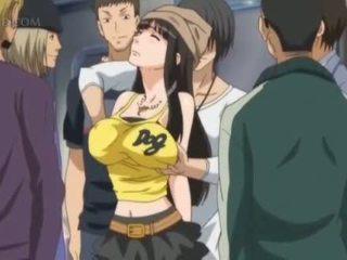 Cycate anime seks niewolnik gets sutki pinched w publiczne