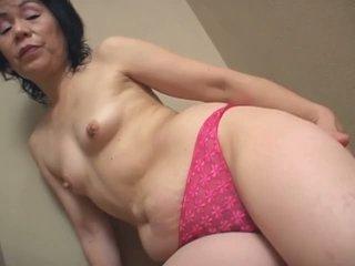 Old japanese woman masturbating for the camera