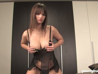 Young busty Rita strip and toy pussy